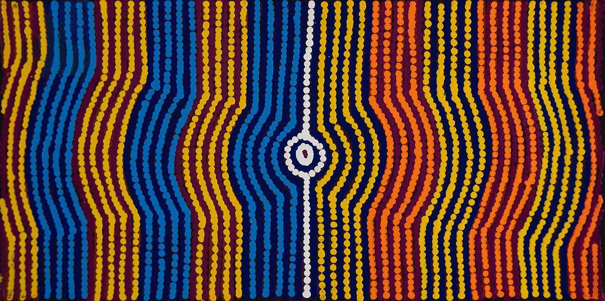 Product shot of Desert Fringe-rush Seed Dreaming - © Gloria Gill Napangardi
