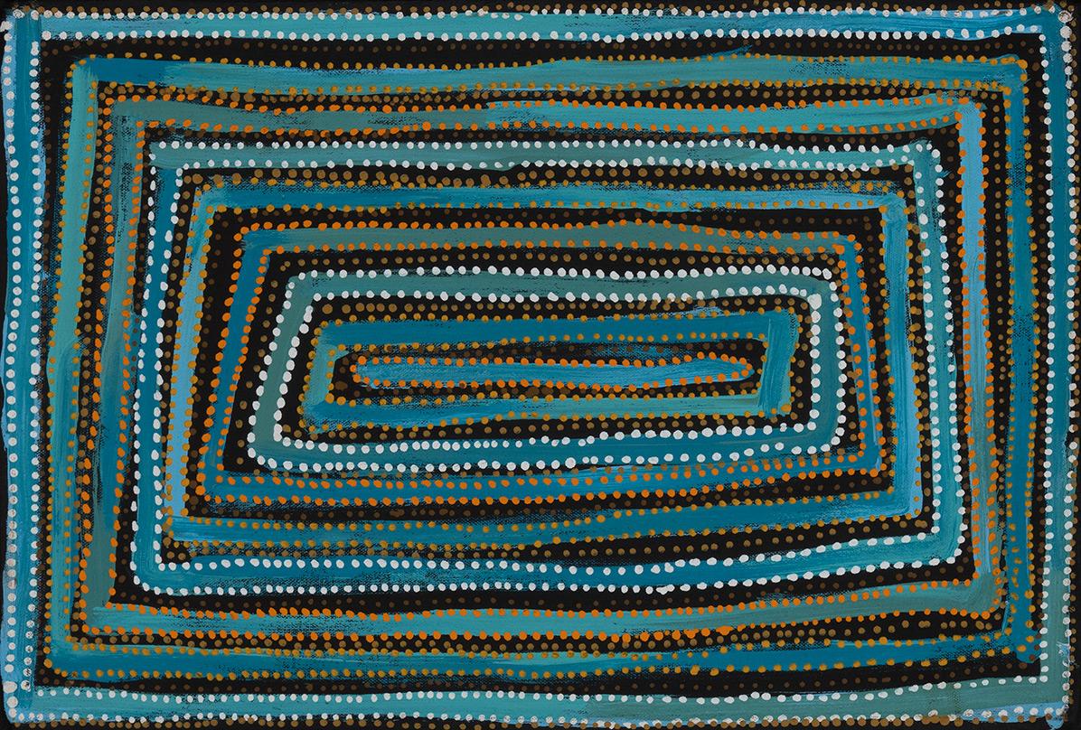 Product shot of Desert Fringe-rush Seed Dreaming - © Pauline Gallagher Napangardi