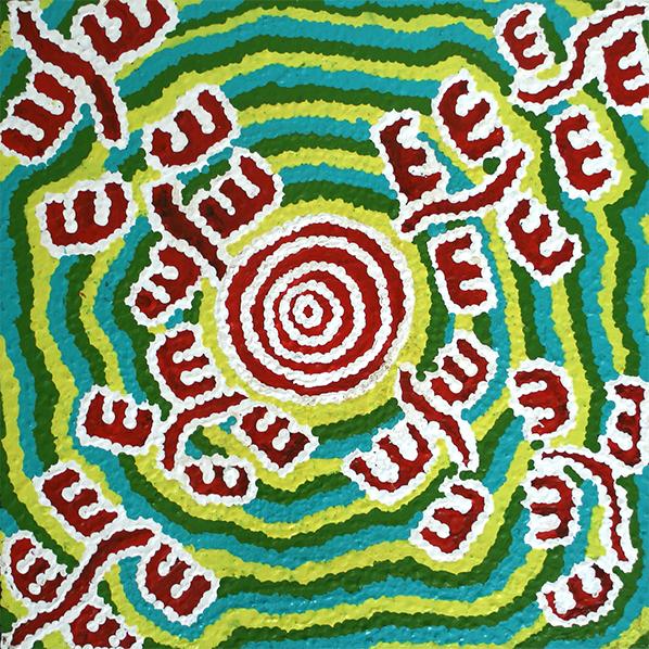Product shot of Desert Fringe Rush Seed Dreaming - © Andrea Wilson Nungarrayi